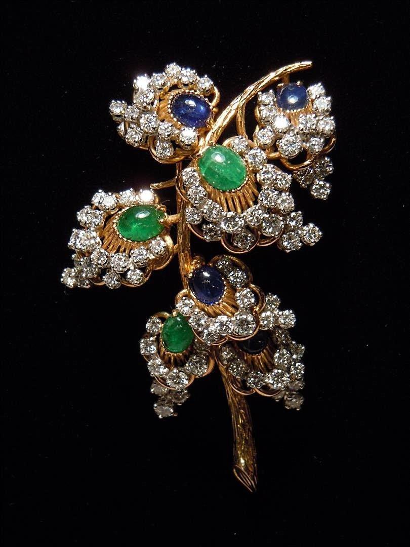14KYG Diamond, Emerald & Sapphire Pin