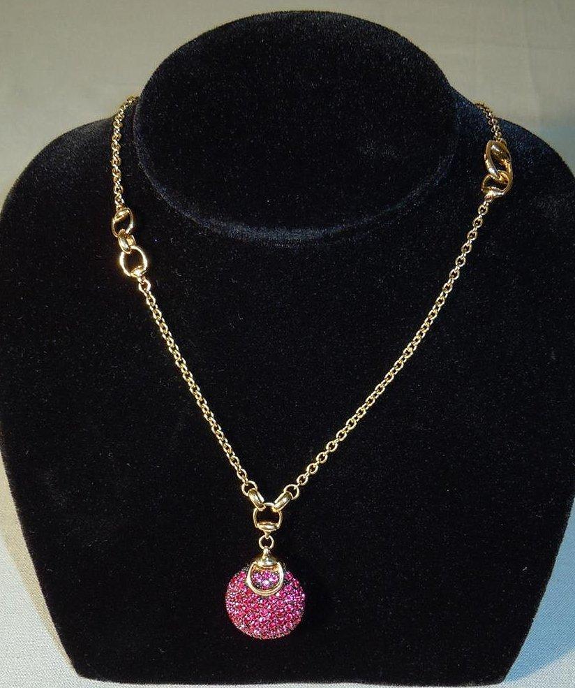Rare 18k Gucci Ruby Horsebit Necklace