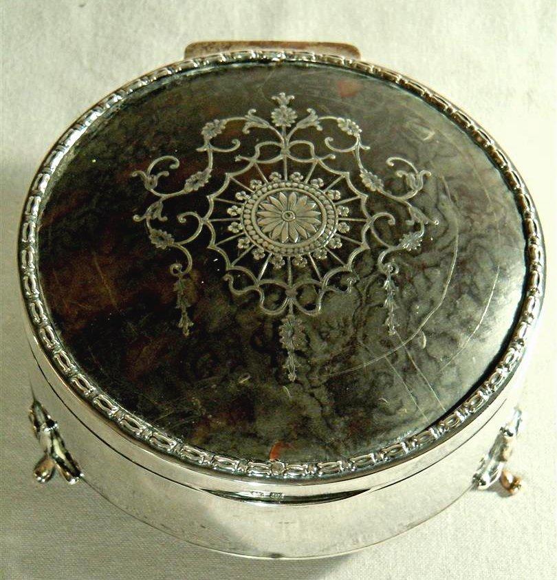 Tortoise Shell English Silver Jewelry Box