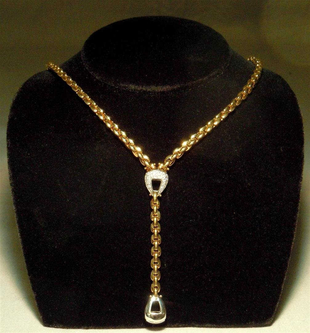 "Fope Designer 18K Two Tone Diamond ""Y"" Necklace"