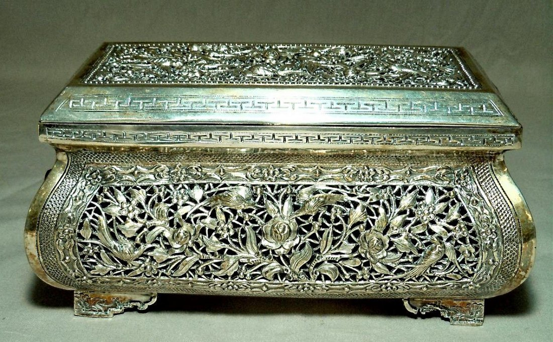Chinese Export Silver Reticulated Box