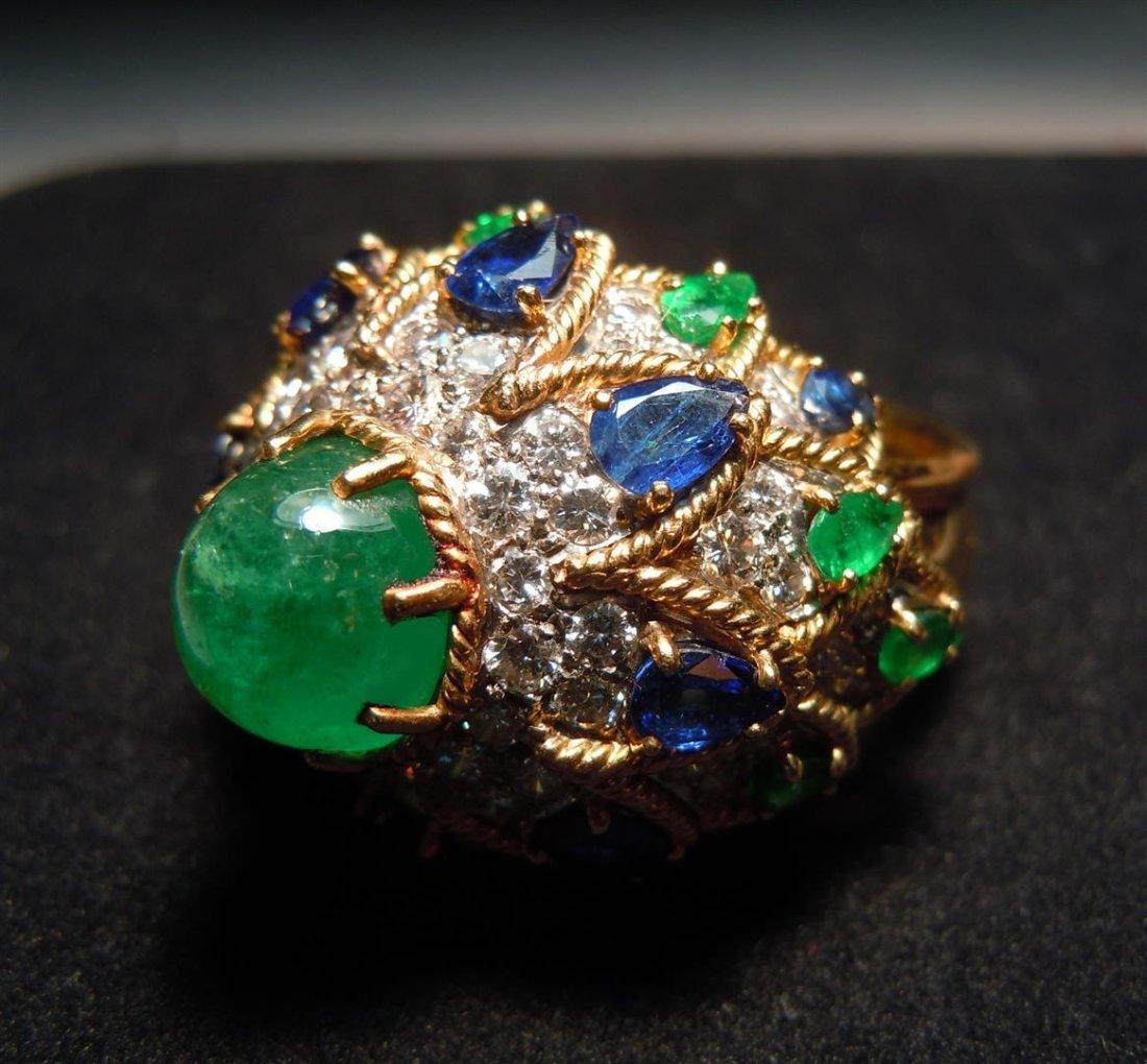 14KYG Diamond, Emerald & Sapphire Ring