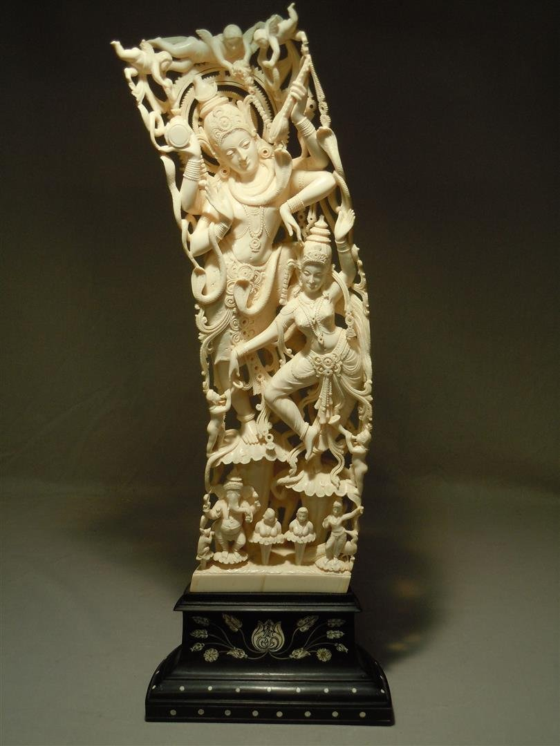 Large India Carved Ivory on Intricate Base