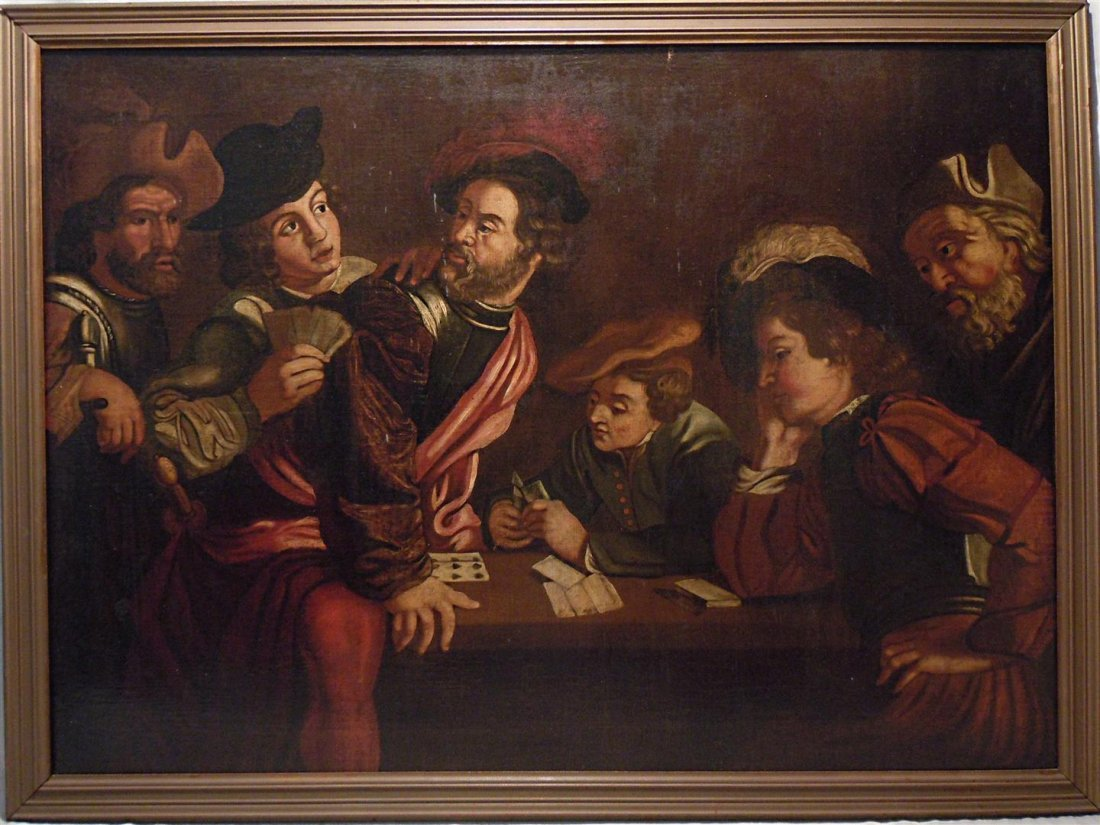 Old Master Card Players Painting