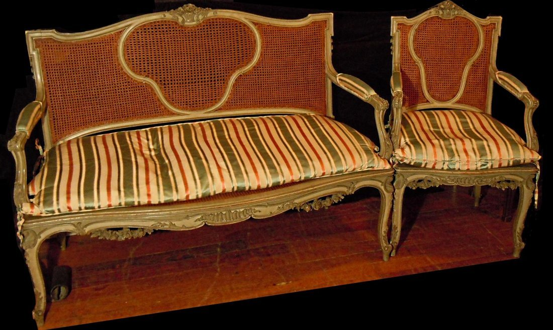 Edwardian French Settee & Matching Chair