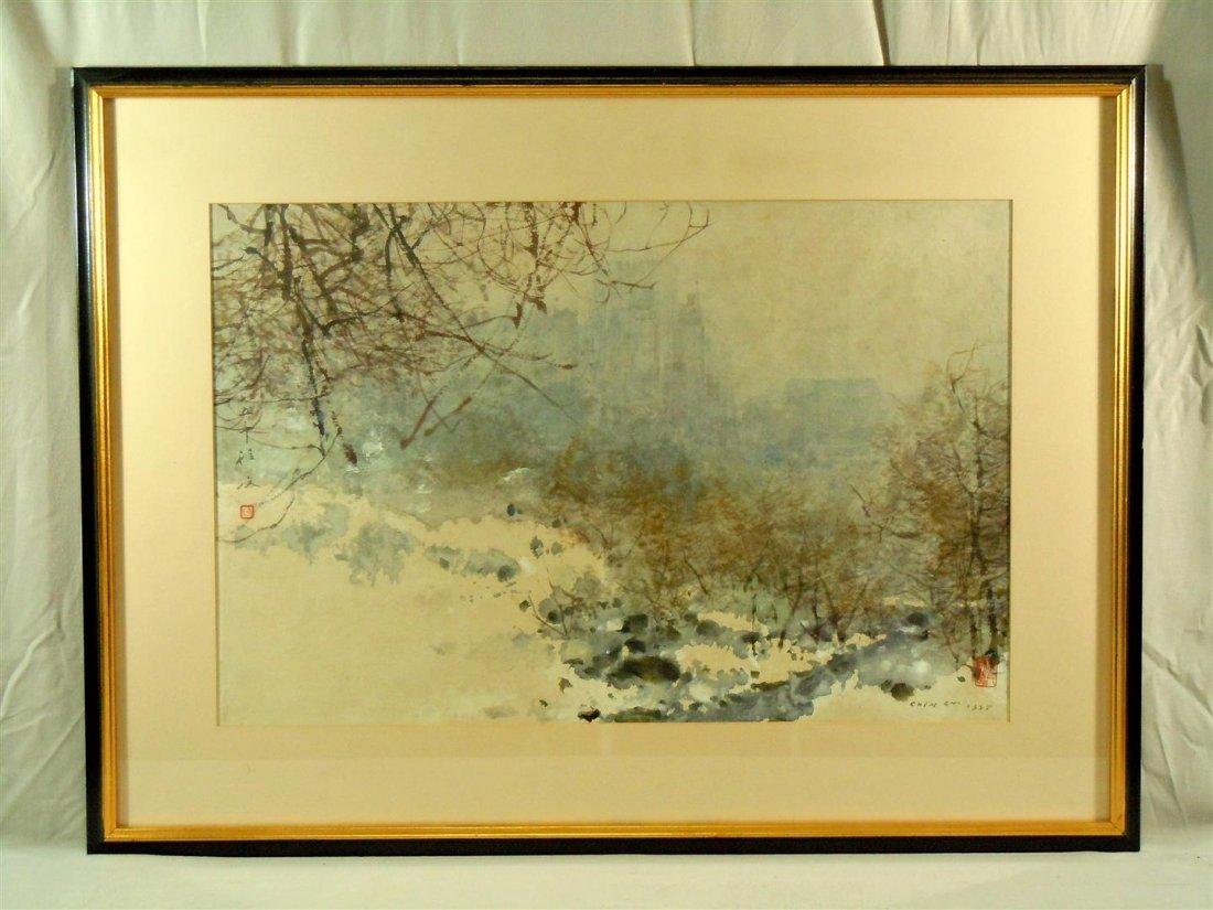 "Chen Chi, ""Central Park NY"" Watercolor"