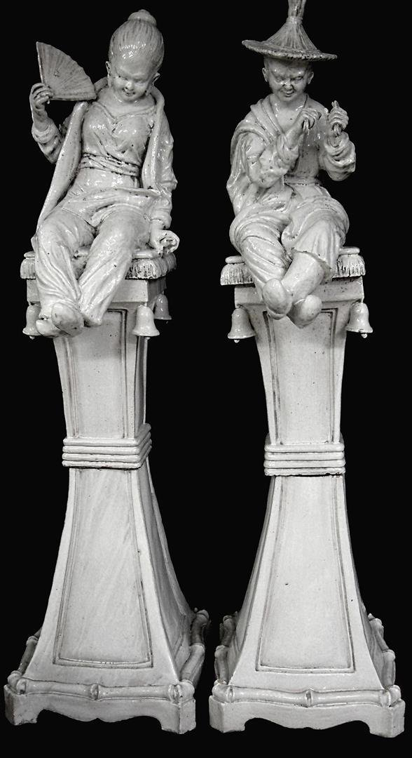 Pair Large Italian Ceramic Figures On Stands