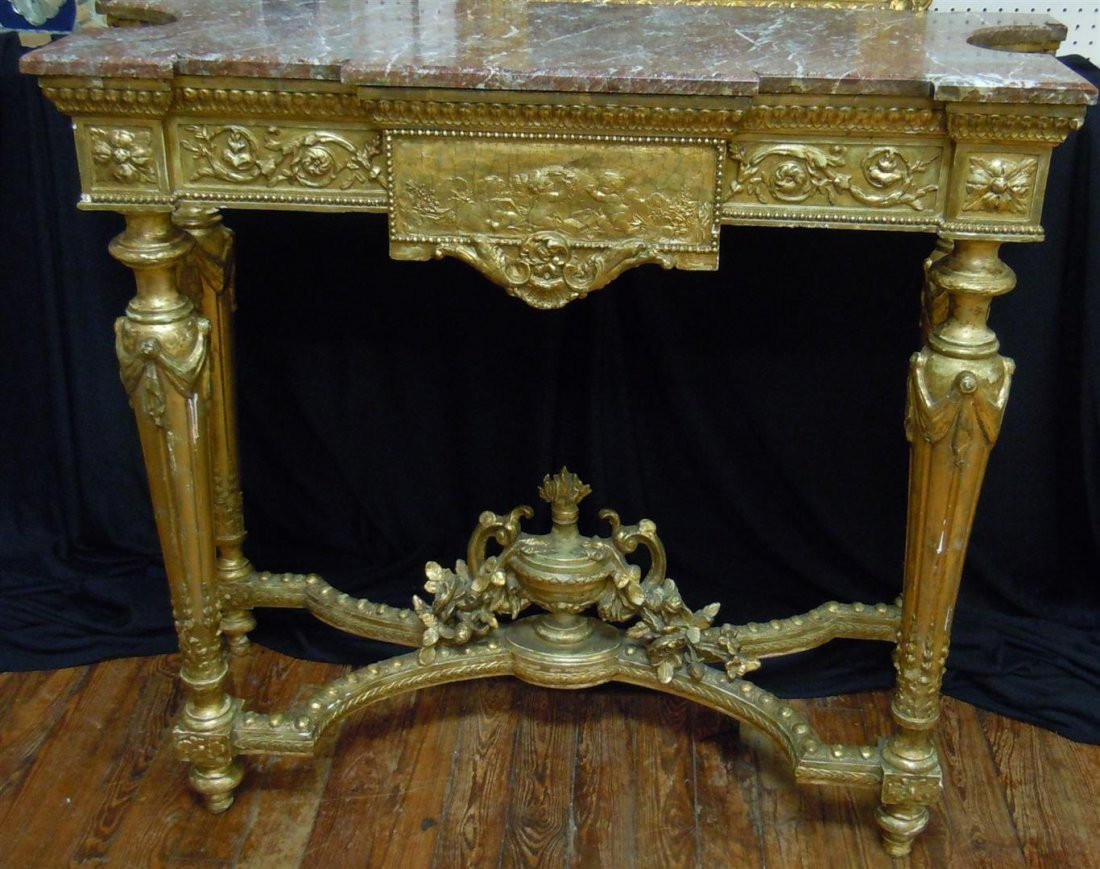 19thc. Rouge Marble-Top Console Table