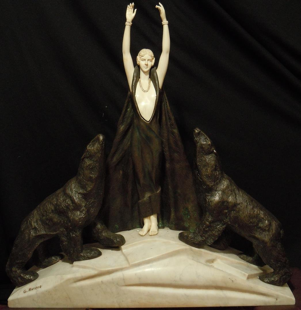 Art Deco Bronze & Ivory Sculpture