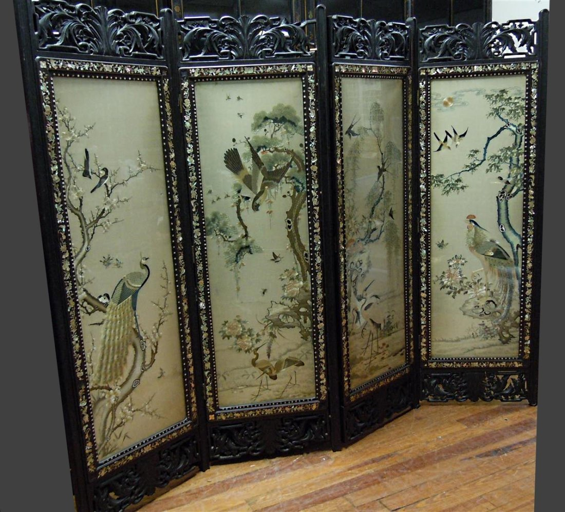 19thc 4 Panel Japanese Embroidered Carved Screen