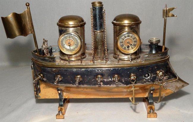 Rare Silver and Brass Key-wind Ship Automaton
