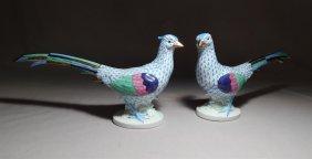 Pair Of Herend Porcelain Pheasants