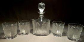 "Lalique ""Femmes"" Decanter & Whisky Tumblers"