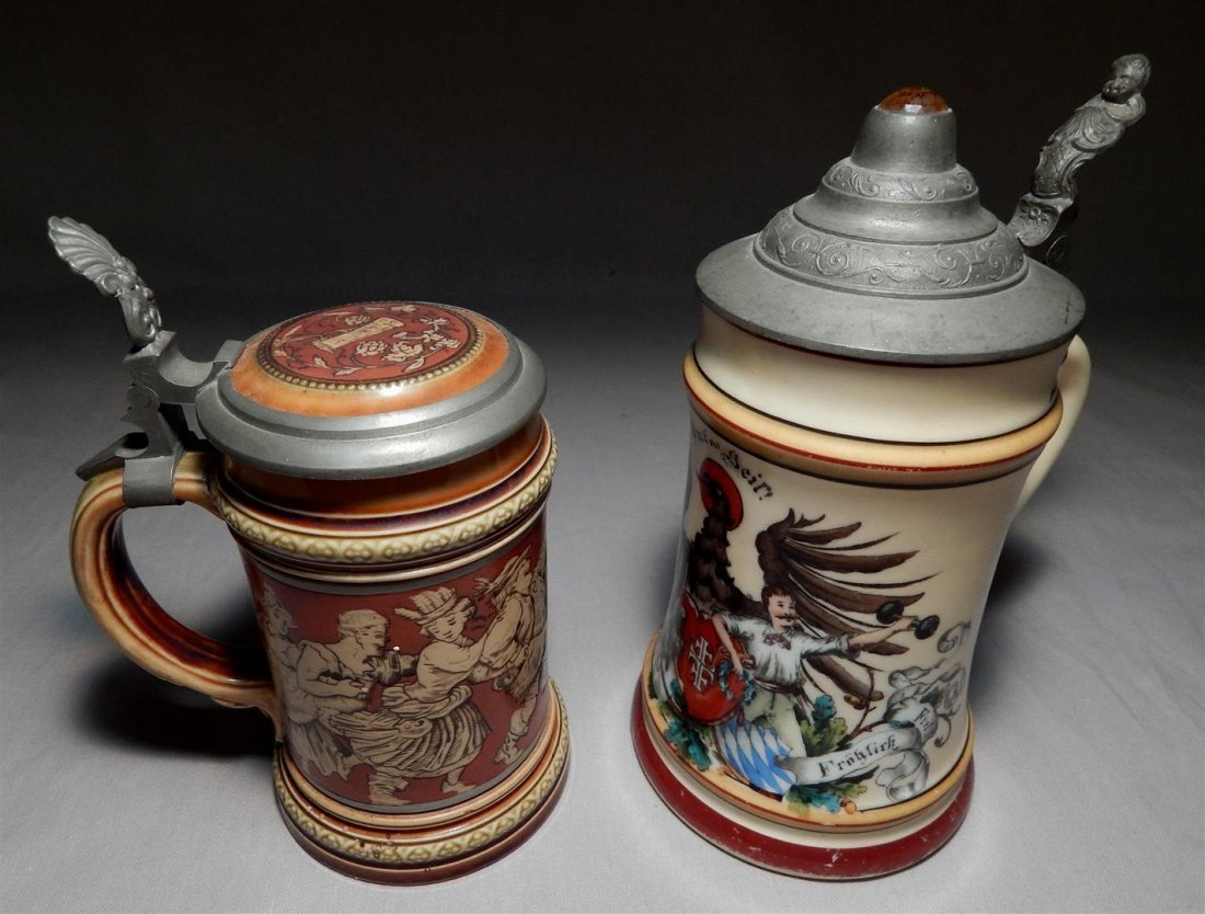 Mettlach and Lithophane German Beer Steins