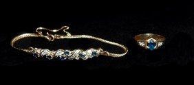 14KYG Sapphire & Diamond Bracelet And Ring