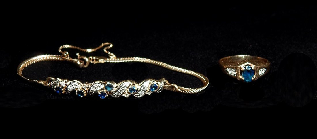 14KYG Sapphire & Diamond Bracelet and Ring