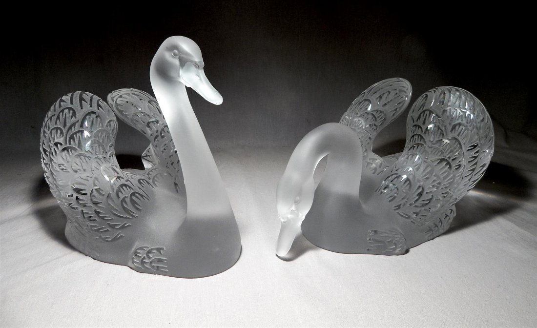Pair of Large Lalique Swans