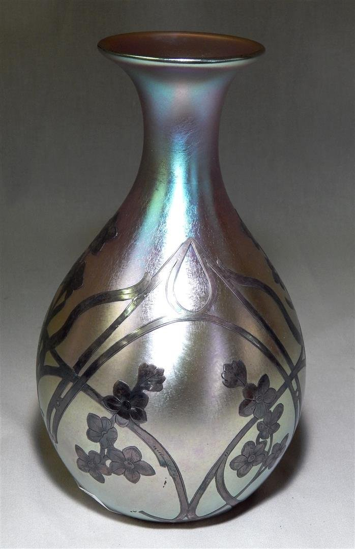 Quezal  American Art Glass Vase with Silver Overlay