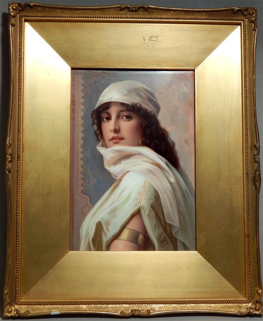 19thc Hand Painted Plaque, Orientalist Beauty KPM Style