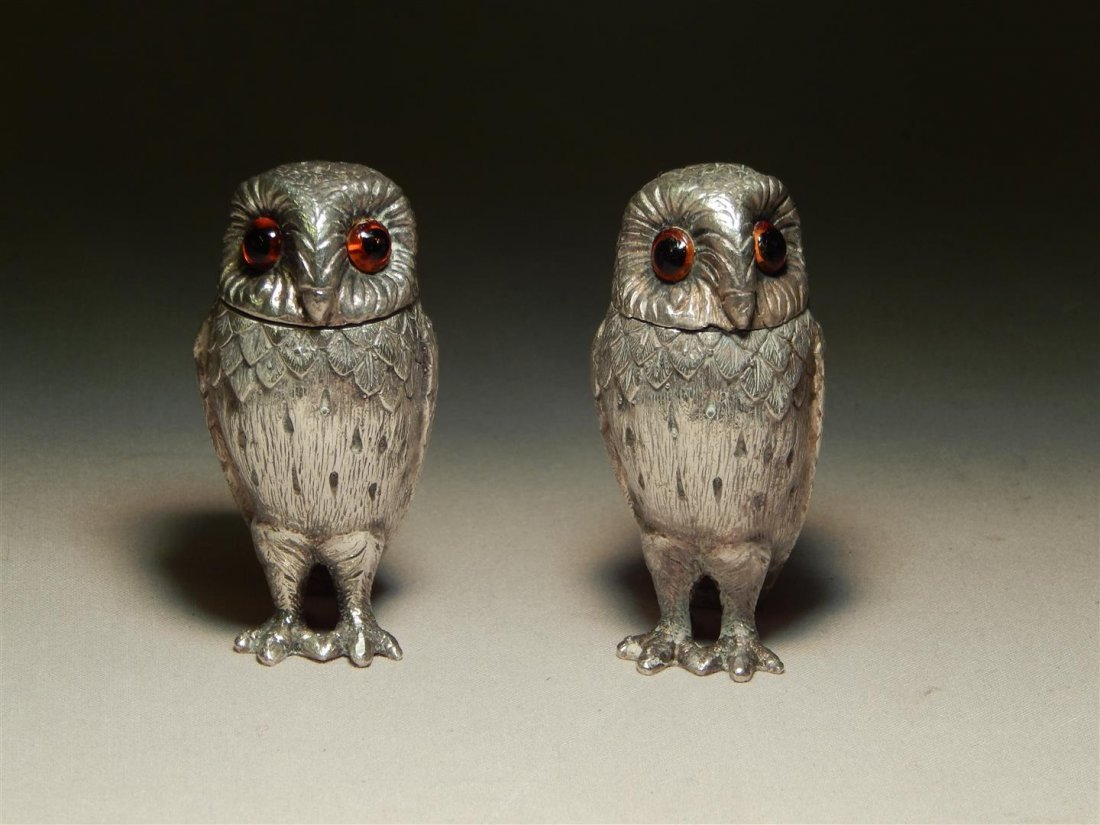 Tiffany & Co. Sterling Owl Salt & Pepper Shakers