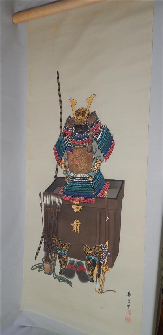 Hand Painted Japanese Samurai Silk Scroll Signed