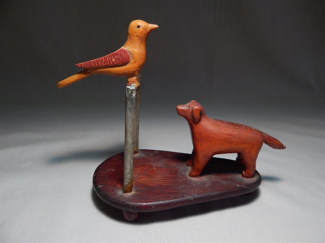 Carved Wood Folk Art Dog & Bird