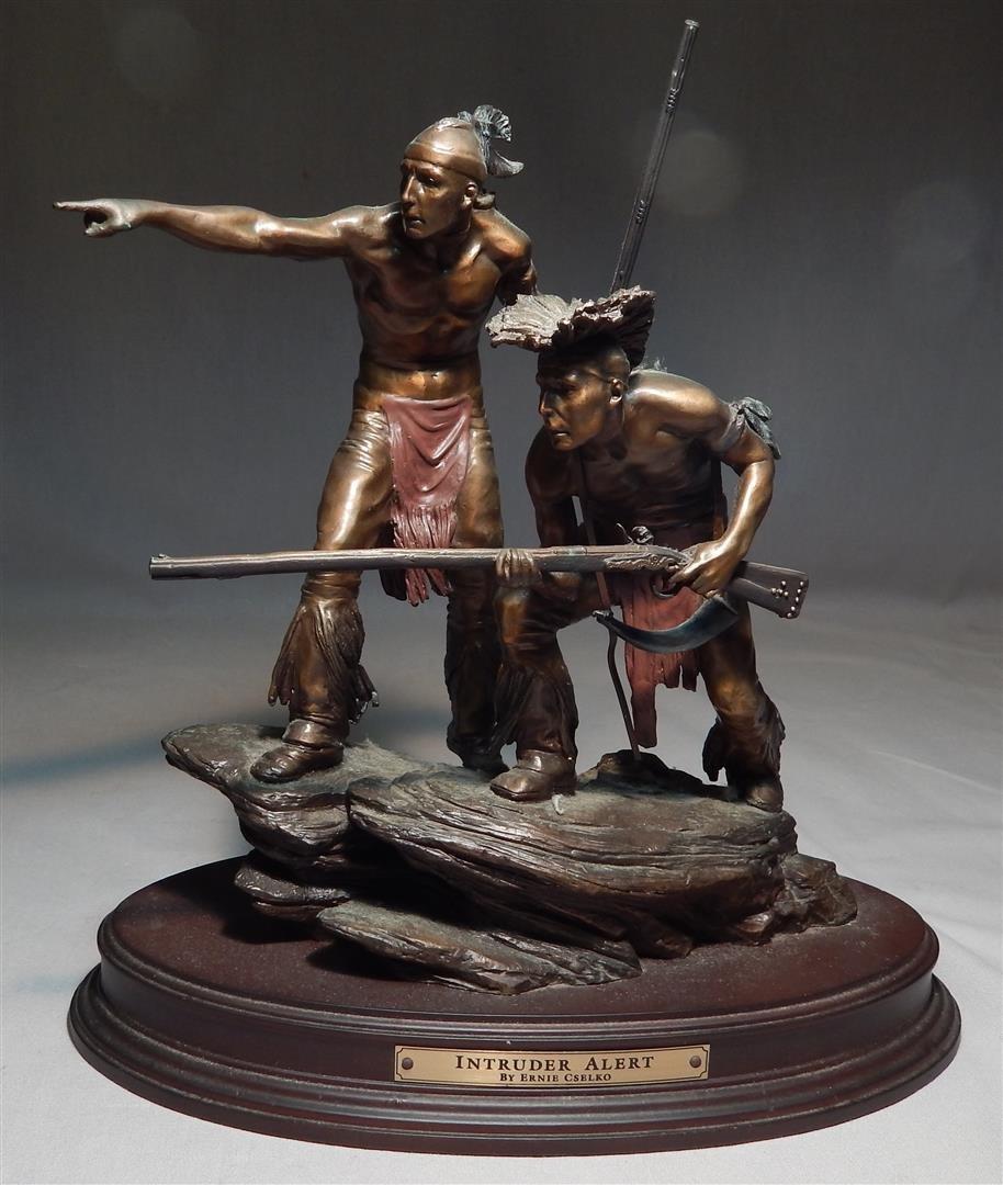 "Ernie Cselko Native American Bronze, ""Intruder Alert"""
