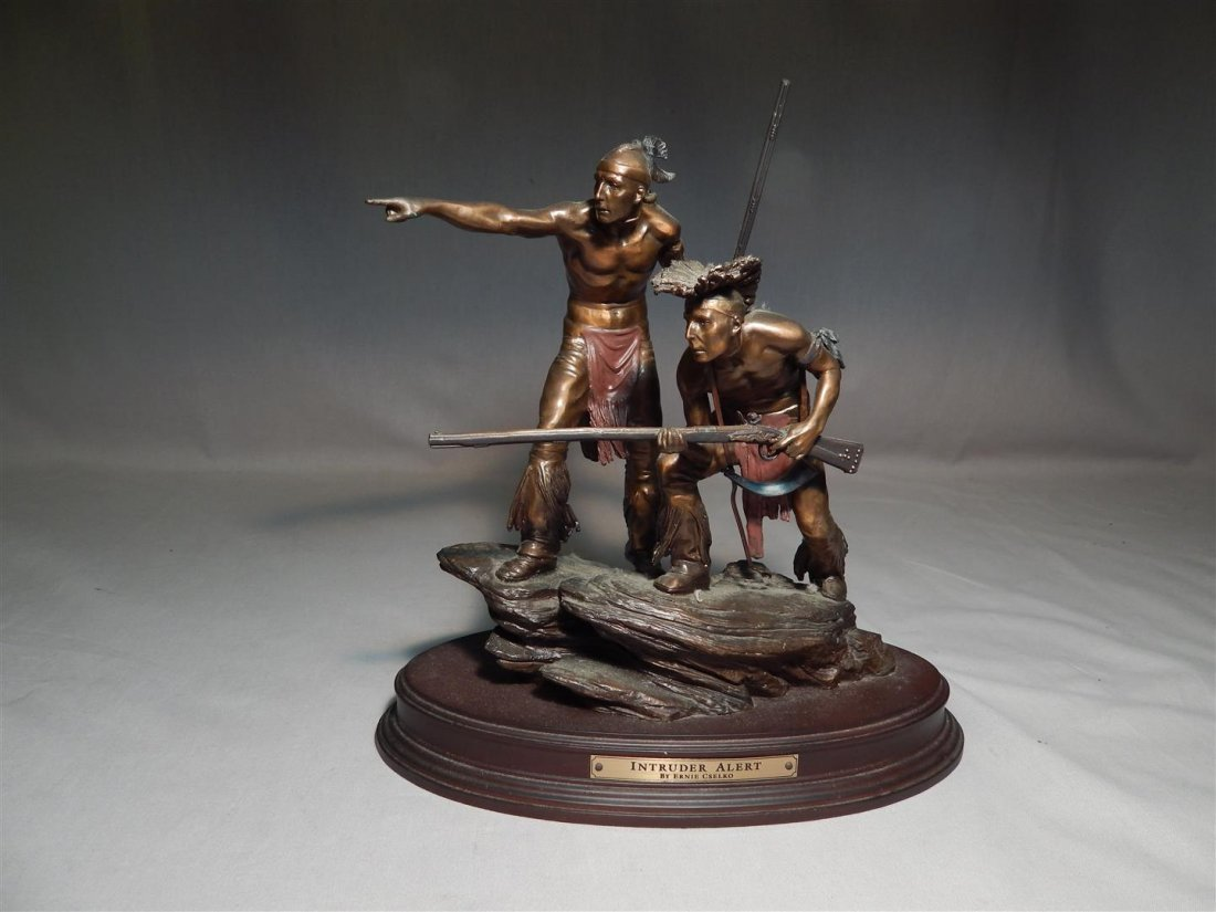 "Ernie Cselko Native American Bronze, ""Intruder Alert"" - 2"