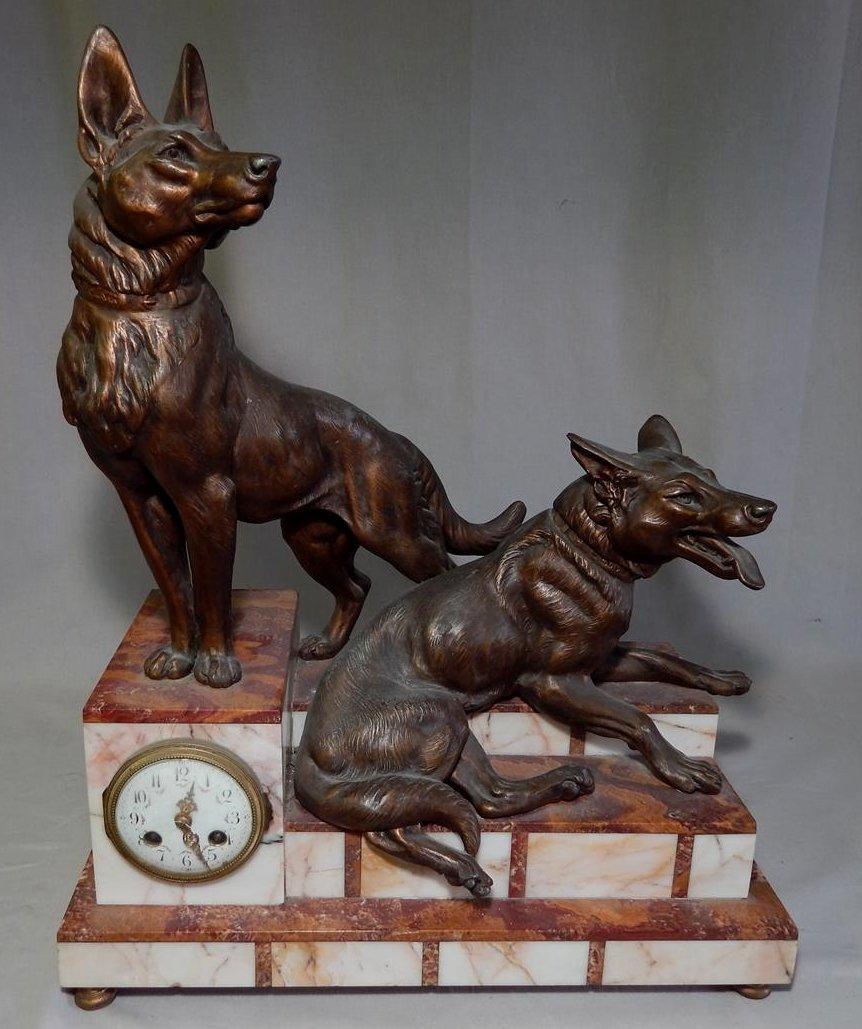 L. Carvin Art Deco Bronze and Marble Sculpture Clock