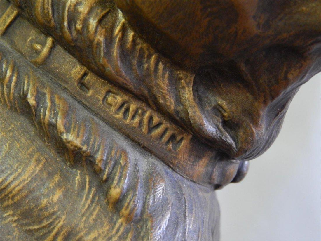 L. Carvin Art Deco Bronze and Marble Sculpture Clock - 8