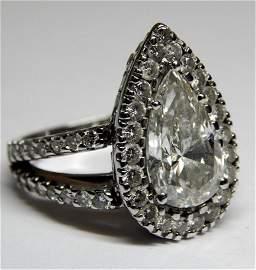 3.51K Pear Shaped Diamond in Platinum Setting