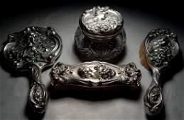 American Art Nouveau Sterling Silver Dresser Set.