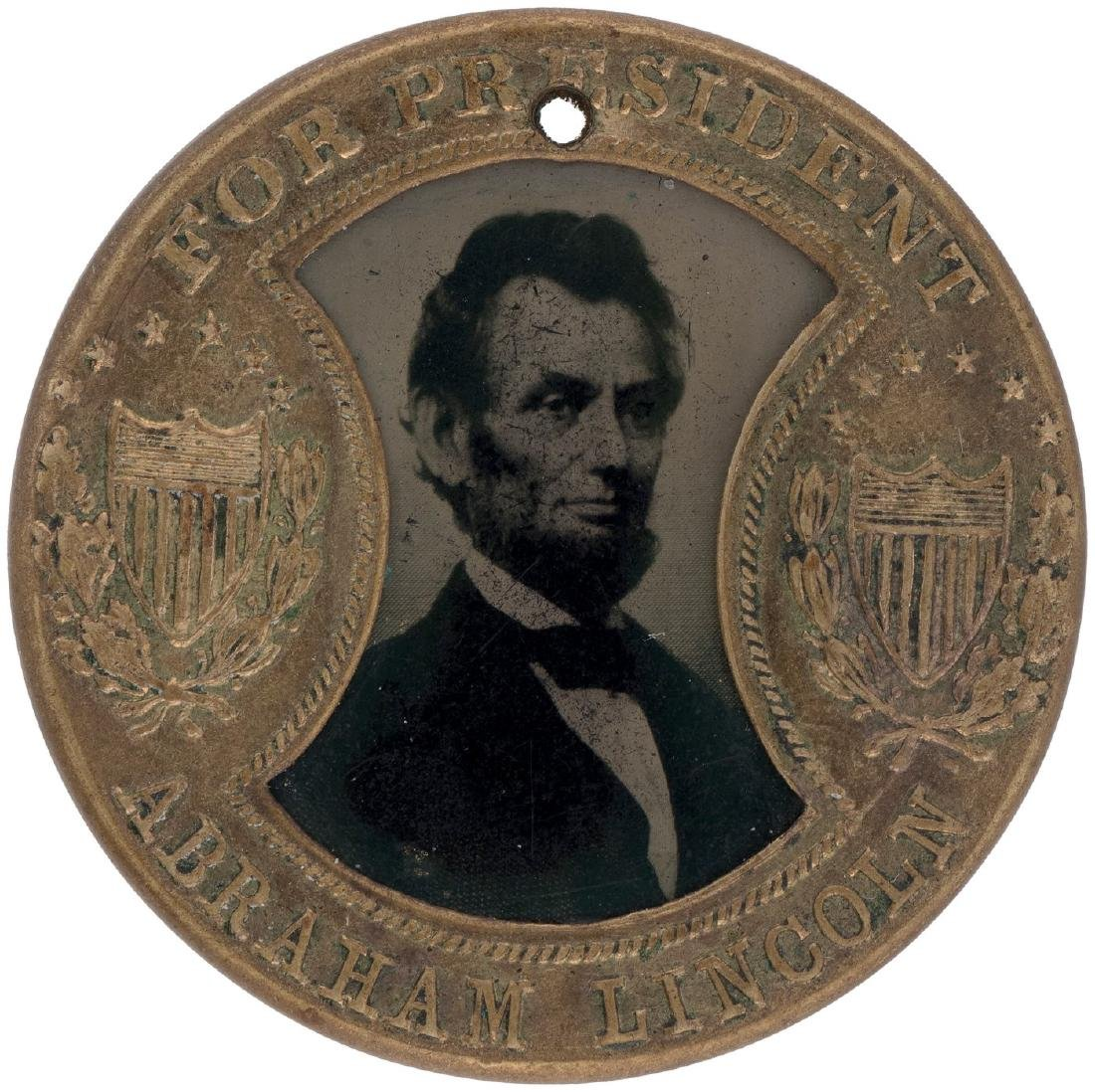 """LINCOLN 1864 FERROTYPE IN ENCASED STAMP """"GAULT"""" STYLE F"""
