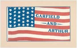 """RARE """"GARFIELD AND ARTHUR"""" 1880 CAMPAIGN PARADE FLAG."""
