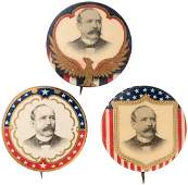 TRIO OF ALTON PARKER PORTRAIT BUTTONS FROM 1904 PRESIDE
