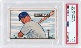 1951 BOWMAN #253 MICKEY MANTLE ROOKIE CARD PSA VG 3.