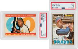 HANK AARON 1960s1970s TOPPS PSA GRADED LOT OF NINE CAR