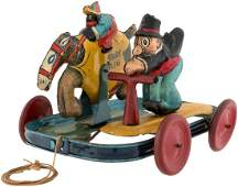 BARNEY GOOGLE & SPARK PLUG SCOOTER RACE PULL TOY.