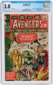 """'AVENGERS"""" #1 SEPTEMBER 1963 CGC 3.0 GOOD/VG (FIRST AVE"""