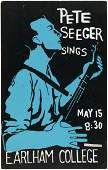 """OUTSTANDING """"PETE SEEGER SINGS"""" 1962 CONCERT POSTER FRO"""
