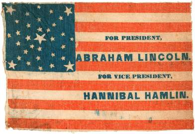 """SPLENDID """"FOR PRESIDENT, ABRAHAM LINCOLN"""" PARADE FLAG T"""