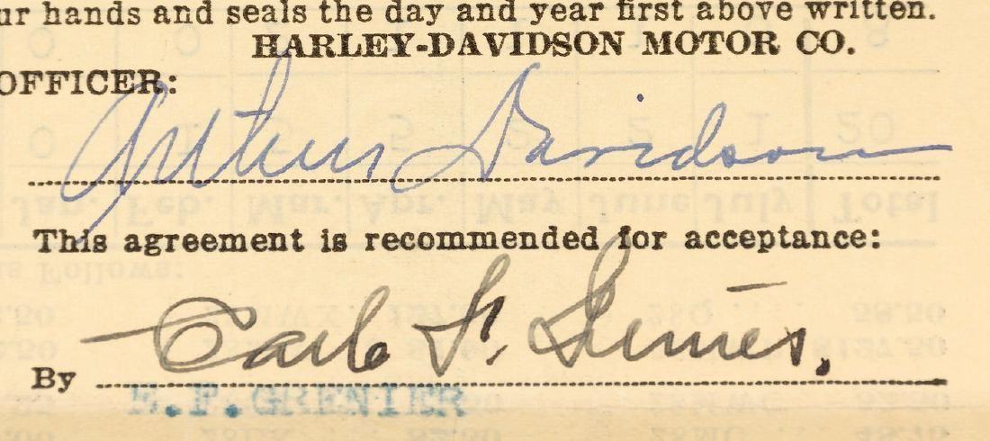 HARLEY-DAVIDSON - ARTHUR DAVIDSON SIGNED CONTRACT.