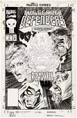 THE SECRET DEFENDERS 4 COMIC BOOK COVER ORIGINAL ART