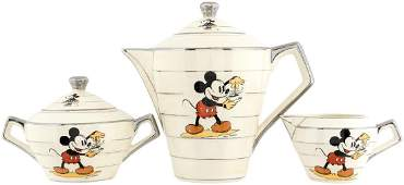 MICKEY & MINNIE MOUSE ART DECO STYLE FRENCH TEA SET.