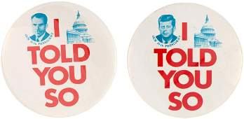 PAIR OF 1960 I TOLD YOU SO BUTTONS INCLUDING RARE NIX