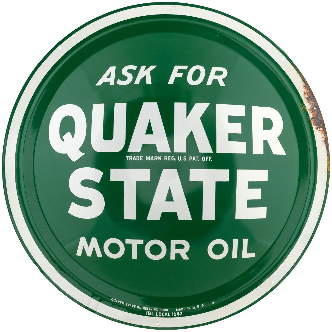 """""""ASK FOR QUAKER STATE MOTOR OIL"""" METAL DOME ADVERTISING"""