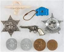 HOPALONG CASSIDY PREMIUMS, TV VIEWER, GUN PIN, BADGES,