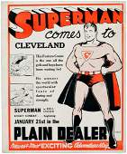 SUPERMAN PROMOTIONAL SIGN ANNOUNCING 1940 SUNDAY PAGE