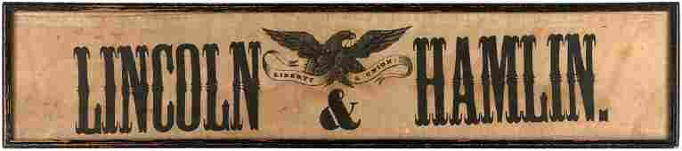 """""""LINCOLN & HAMLIN/LIBERTY & UNION!"""" UNLISTED HORIZONTAL FORMAT 1860 CAMPAIGN BANNER."""