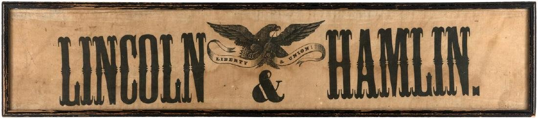 """LINCOLN & HAMLIN/LIBERTY & UNION!"" UNLISTED HORIZONTAL FORMAT 1860 CAMPAIGN BANNER."